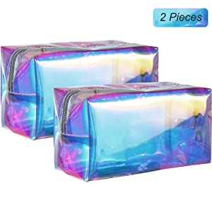 2 Pieces Holographic Makeup Bag Iridescent Cosmetic Pouch Waterproof Portable Handbag for Makeup Tools Organize