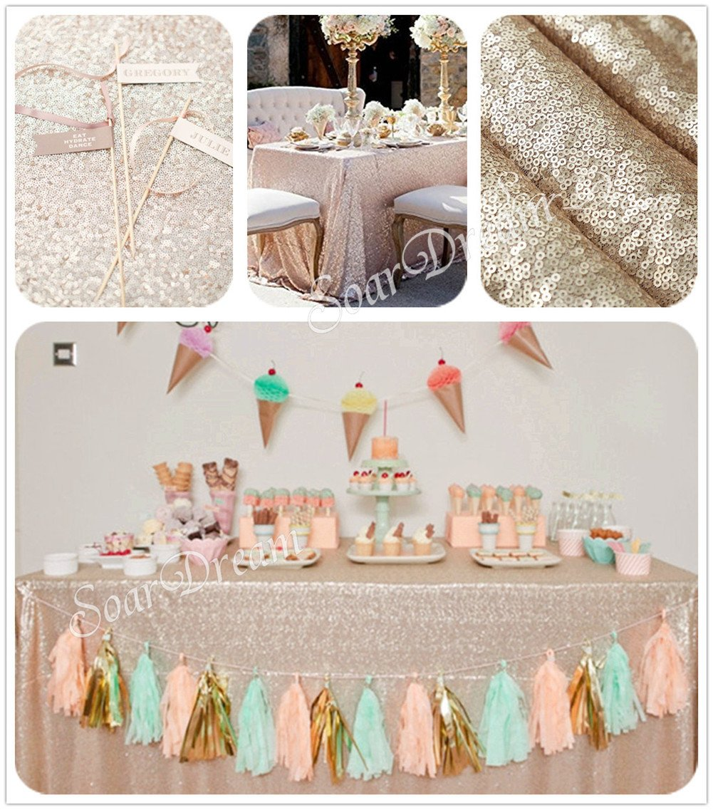 SoarDream champagne sequin tablecloth christmas tablecloth 60''x 102'' rectangle sparkly tablecloth