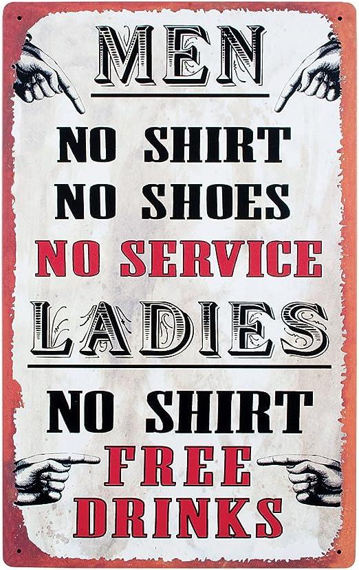 Girls No Shirts  Free Drinks Tin Metal Sign Bar FUNNY New Rec Room