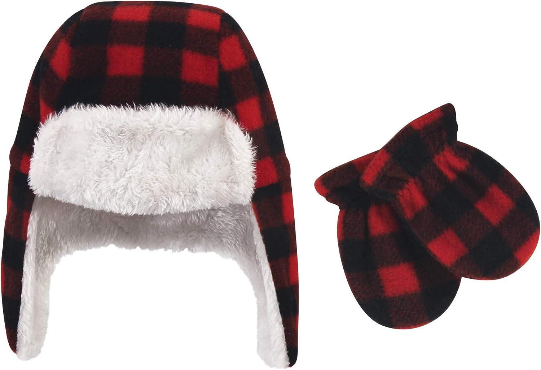 Dark Pink Hudson Baby Girl Trapper Hat and Mitten Set