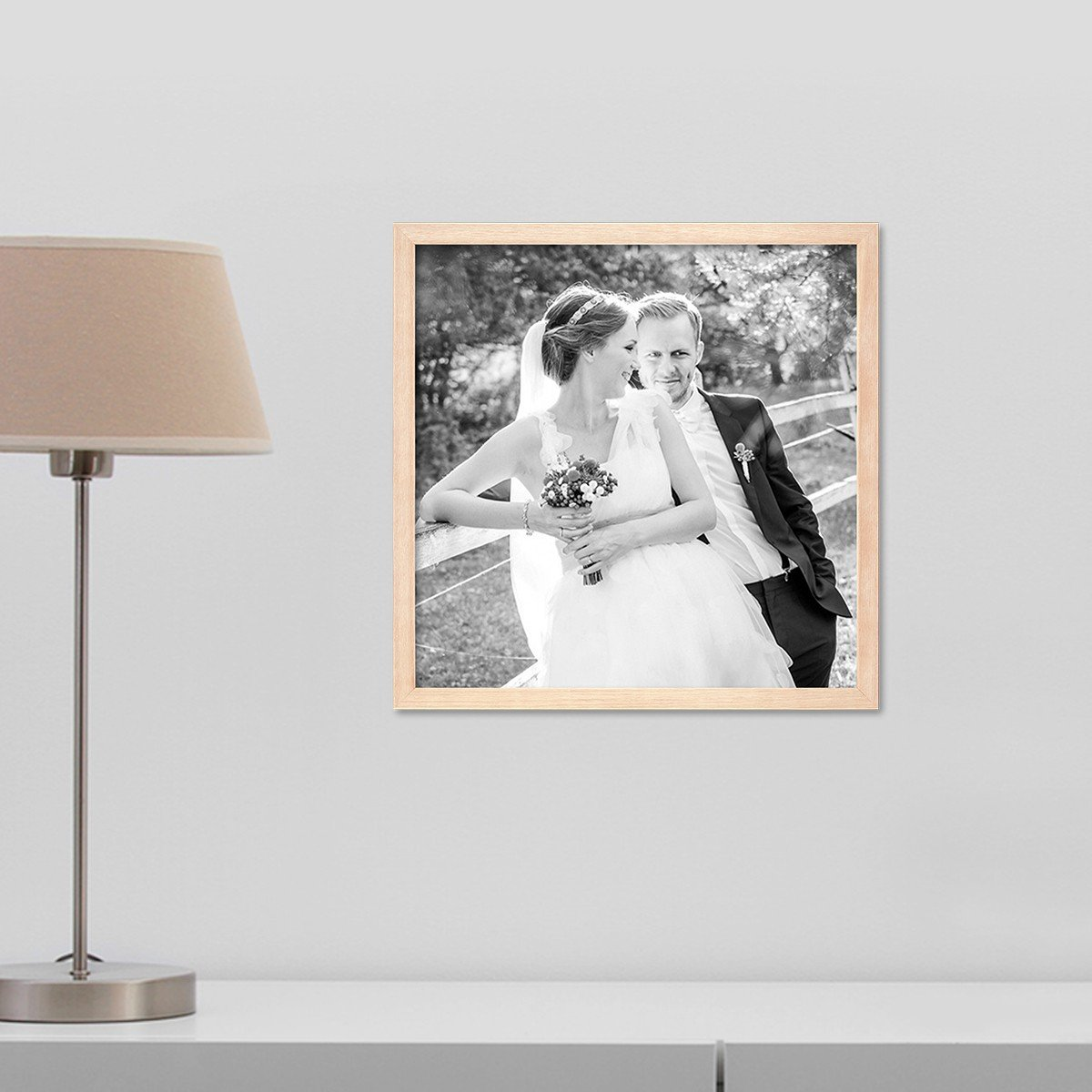 PHOTOLINI Bilderrahmen 40x60 cm Sonoma Eiche Hell Modern Massivholz-Rahmen mit mit mit Glasscheibe inkl. Zubehör Fotorahmen 6304ac