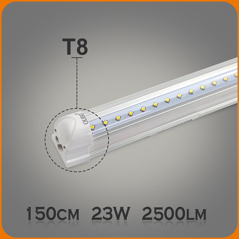 OUBO 60cm LED Leuchtstoffrö hre komplett Set mit Fassung kaltweiss 6500K 10W 950lm Lichtleiste T8 Tube mit klarer Deck