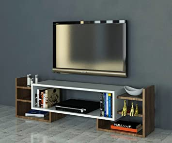 Lamodahome support tv unité marron blanc simple fonctionnel