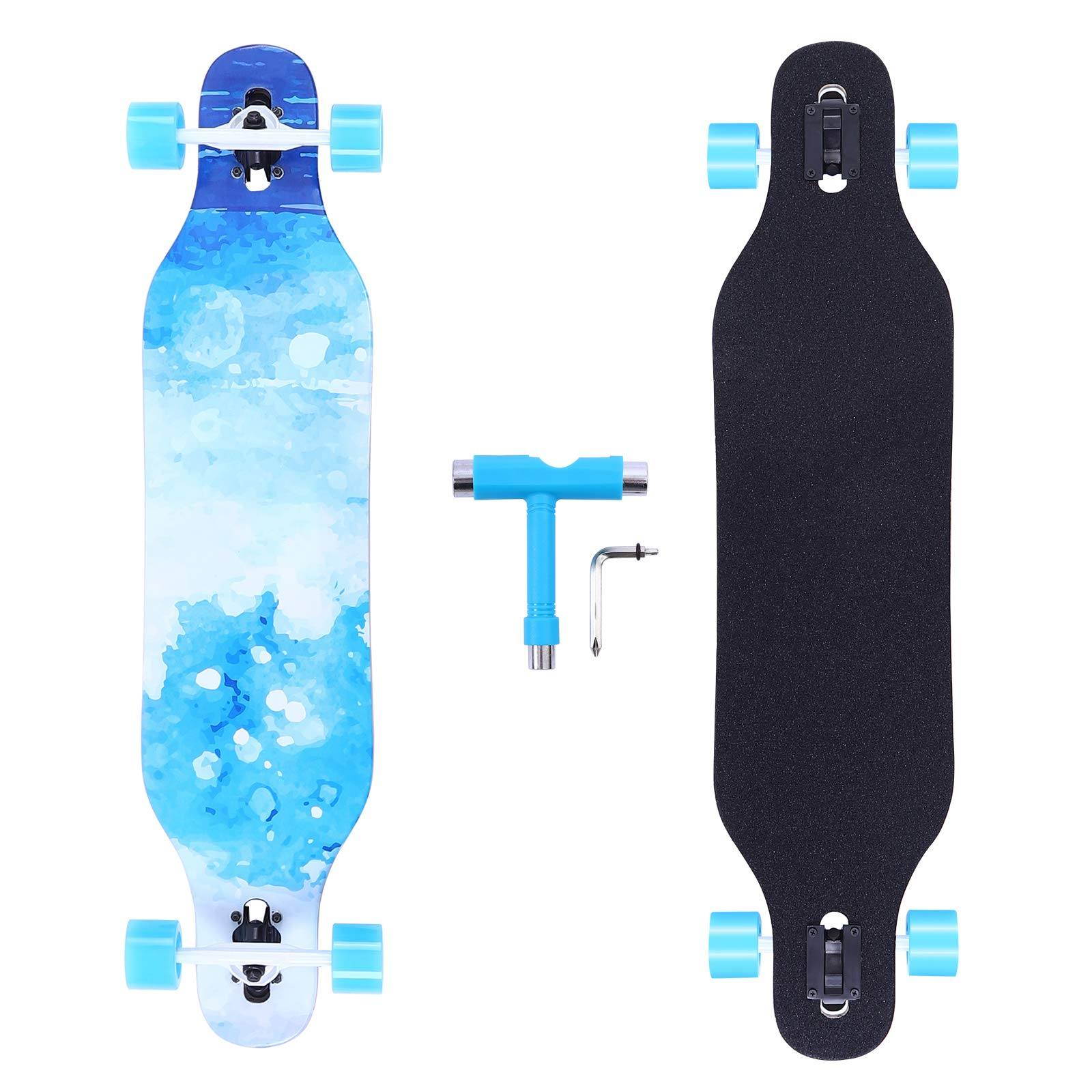 BOCIN 41 inch Freeride Longboard Drop Through Skateboard 8 Ply Canadian Maple Complete Cruiser for Cruising, Carving, Free-Style and Downhill