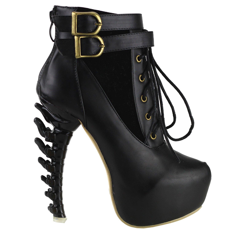 Show Story Lace Up schnalle hoch oben knochen hohe Heel Platform knchel stiefel,LF40601 Schwarz