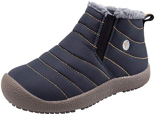 727b8fcfa1b46 JINKUNL Kids Fur Lined Ankle Boots Winter Slip On Waterproof Warm Shoes  Navy 1 M US