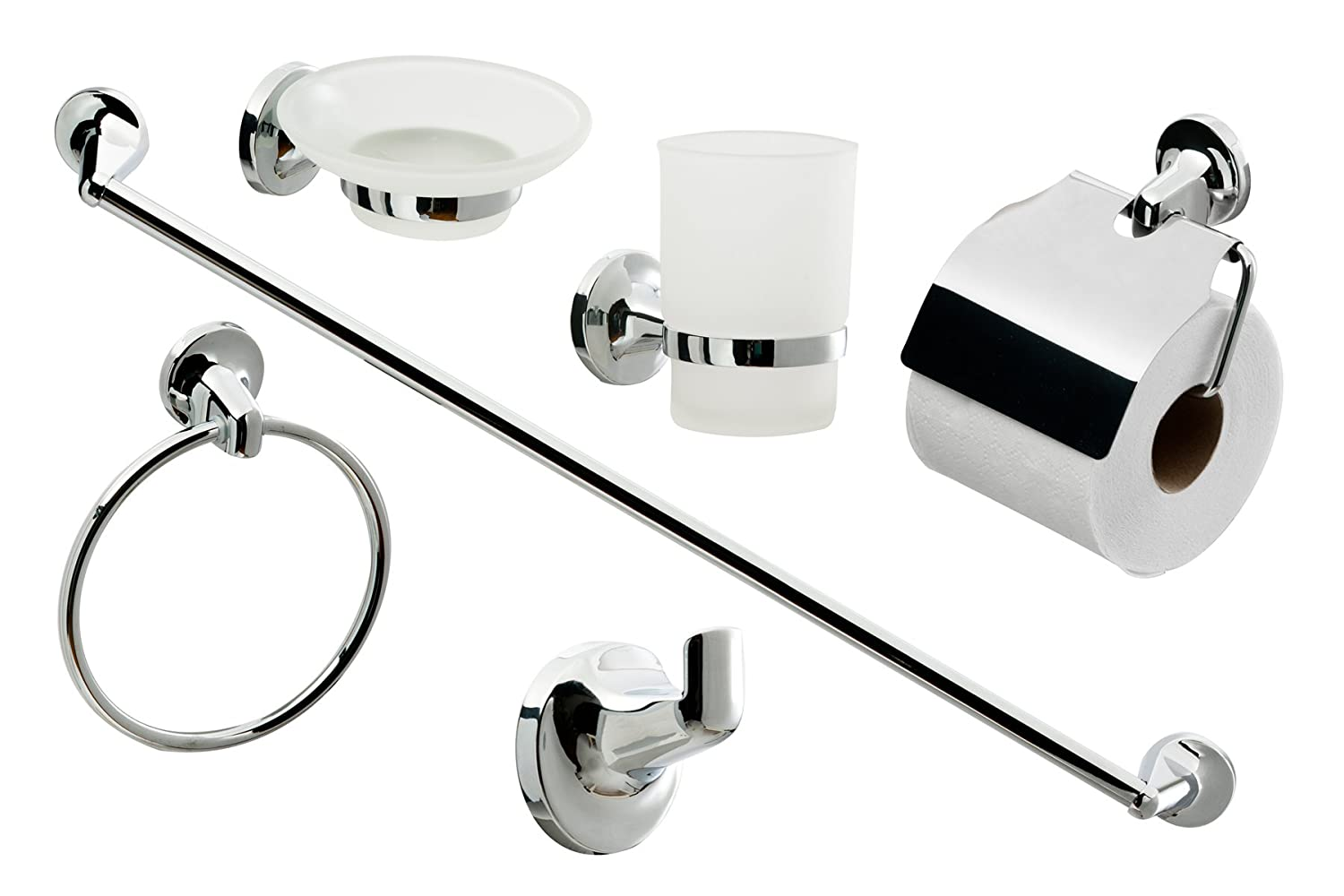 Great Cassellie 0908001 6 Piece Bathroom Accessories Set Metal: Amazon.co.uk: DIY  U0026 Tools