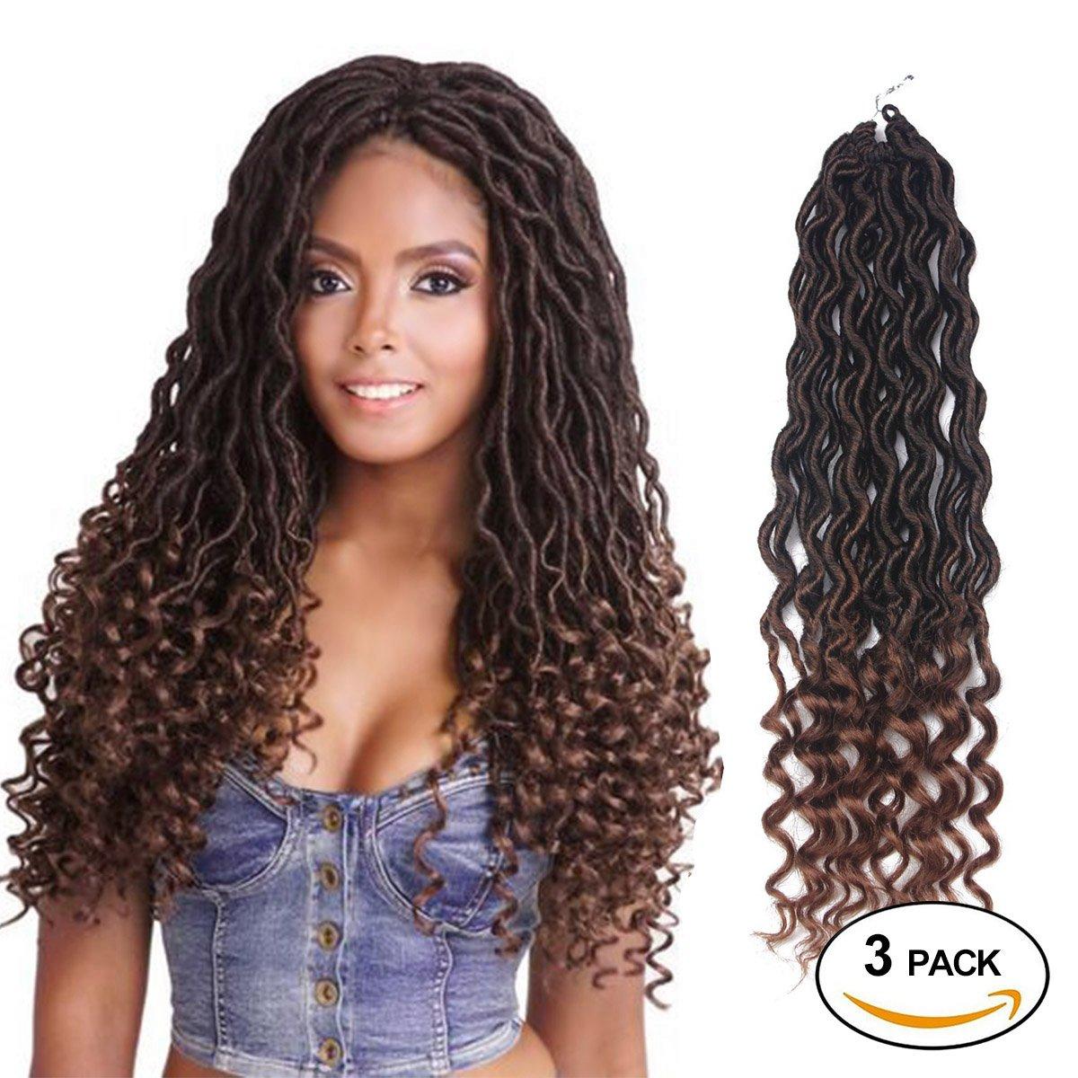 Amazon Com African Hair Braiding Goddess Faux Locs Crochet Hair Braids Wavy With Curly Ends African American Hair Extensions Dark Brown Soft Dread Dreadlocks 3packs Lot 1b 30 Beauty