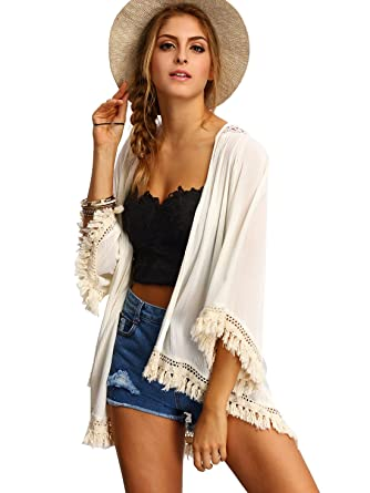 f7ee329d1ea SweatyRocks Women s Tassel Kimono Fringe Cardigan Beachwear Cover up Beige  XS