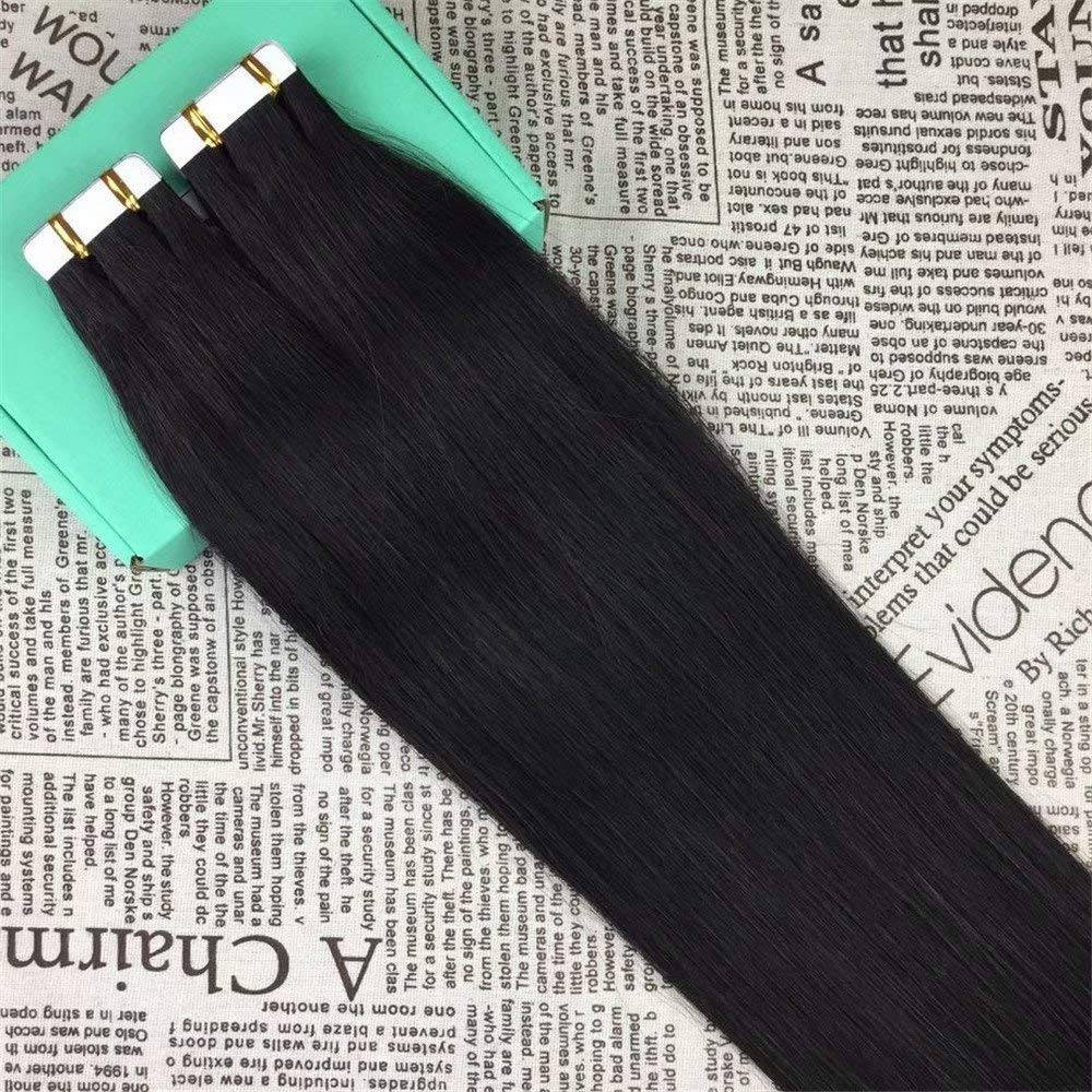 HIKYUU 22 Inches 50g/20pcs Off Black Double Sided Invisible Tape in Hair Extensions #1B Glue in...