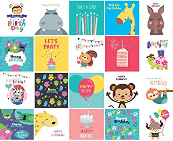 Remarkable 20 X Childrens Birthday Cards Multi Pack Square Cards 15Cm X Personalised Birthday Cards Paralily Jamesorg