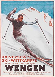 Swiss 250gsm A3 Art Deco Travel Print Vintage Ski Posters ZERMATT 1938