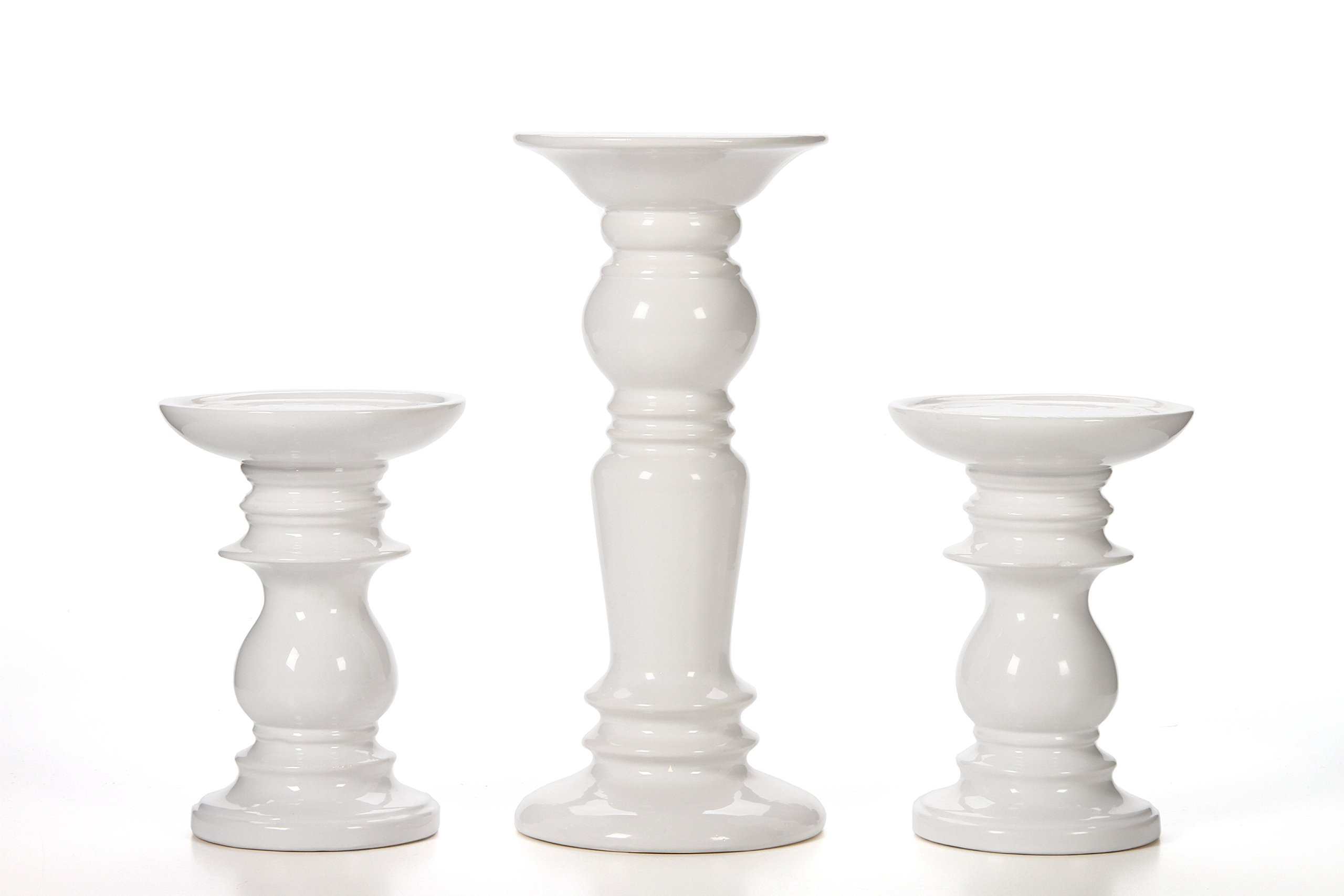 Hosley Set of 3 Ceramic White Pillar Candle Holders - Two 6'' and One 9.5'' High. Ideal for LED and Pillar Candles, Gifts for Wedding, Party, Home, Spa, Reiki, Aromatherapy, Votive Candle Gardens P2
