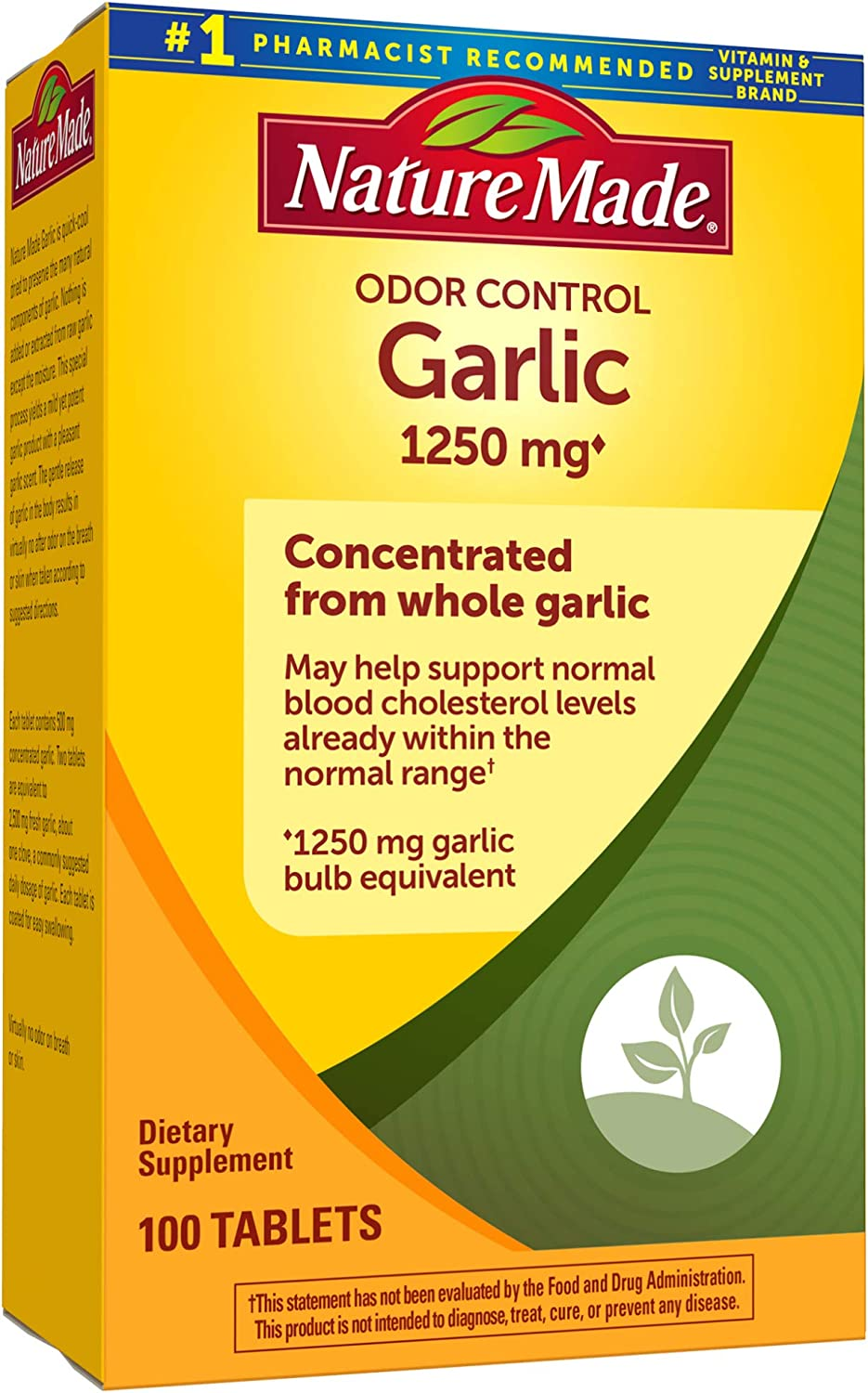 Nature Made, Odor Control Garlic Tabs 1250mg 100Ct