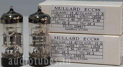 BRITIAN #280015/&17 1MP ECC88 CV5358 MULLARD MADE IN GT