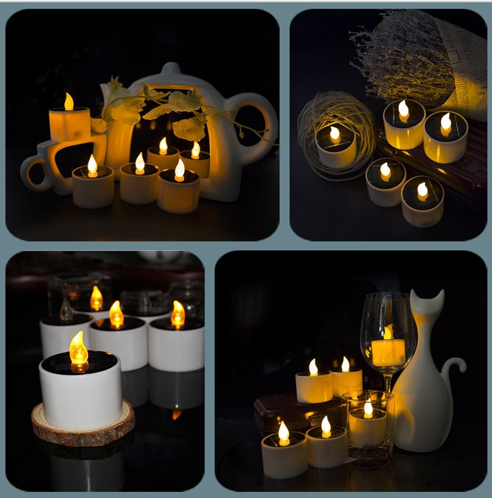 COUTUDI Flameless Candles Led Candles Tealight Candles Solar Candles, Warm White Faux Tea Light with Realistic Flicker for Wedding Patio Home Bar Party, Batteries Included 6 Pack by COUTUDI (Image #5)