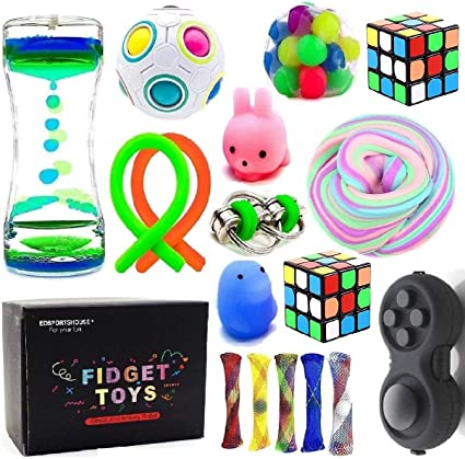 GROPRO7 12Pcs Sensory Stress Relief Fidget Toys Unicorn Stretchy String Relaxing Calming Stuff Animal Like Noodle Therapy Gadgets Promote Focus Play Tool for Boys Girls Teenagers with Autism Anxiety