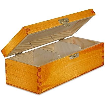 Aliso Caja para Té Bolsita Madera | 3 Compartimentos | 22 x ...