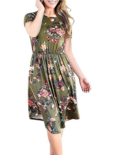 Mujer Vestidos Verano Cortos Elegante Boho Etnico Flores Hippie Lindo Chic Moda Hipster Casual Manga Corta