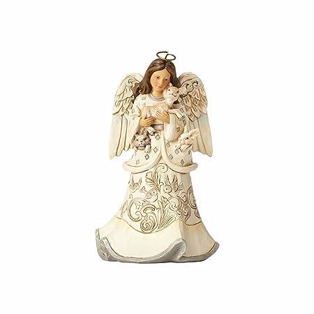 Enesco Jim Shore Heartwood Creek White Woodland Angel and Fawn, 6 Figurine