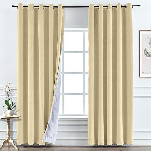 TWOPAGES Soft Velvet Drape Wide Width Blackout Curtain