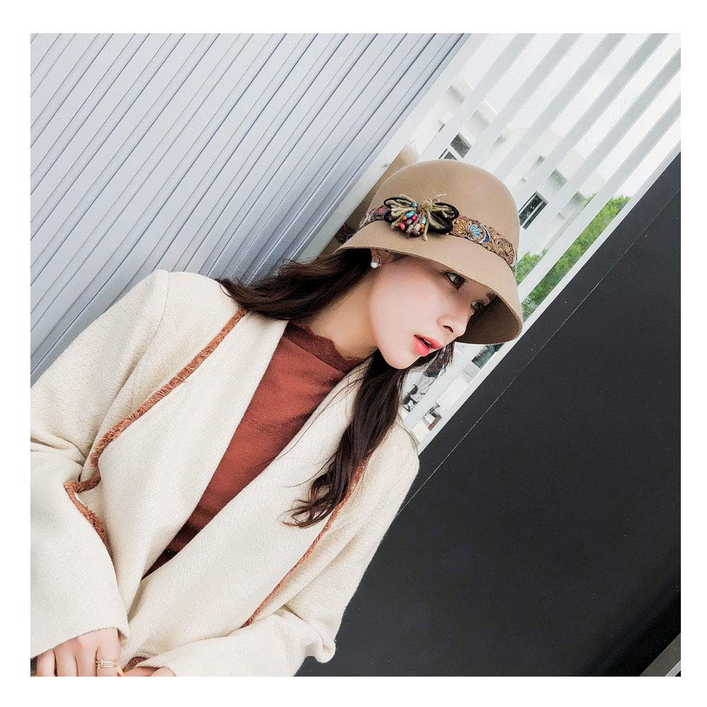For women's hats New Autumn Winter Female Fedoras Wool Felt Hats Elegant Bucket Cultural Style Belt Flowered Women Fedora Hat (Color : Tan, Size : 56-58cm)