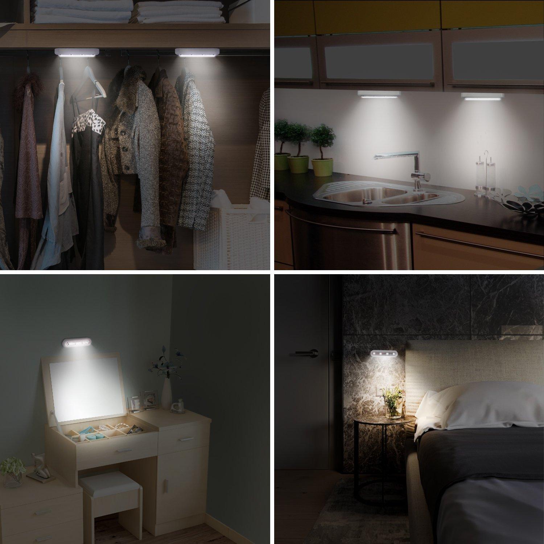 OxyLED Luz de armario Touch,4 LED Touch Tap Luz,Stick de on Cualquier Lugar Push de Light,inalámbrico Touch Sensor LED de luz nocturna,escaleras luces,rotar ...