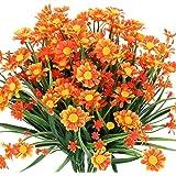 Rinlong Artificial Daisies UV Resistant Flowers Outdoor Chrysanthemum Mums Fake Plants Orange Gerber Daisy Greenery…