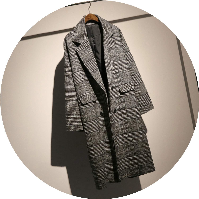 Black Jifnhtrs Autumn Long Sleeve Plaid Woolen Women Coat Loose Outwear TA680