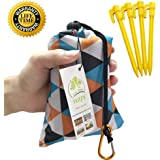 "Outdoor Picnic Blanket (71"" x 55"") -Compact, Lightweight, Waterproof, Sand Proof Pocket Blanket Best for the Beach, Hiking, Travel, Camping, with Pockets, Loops, Stakes, Carabiner"