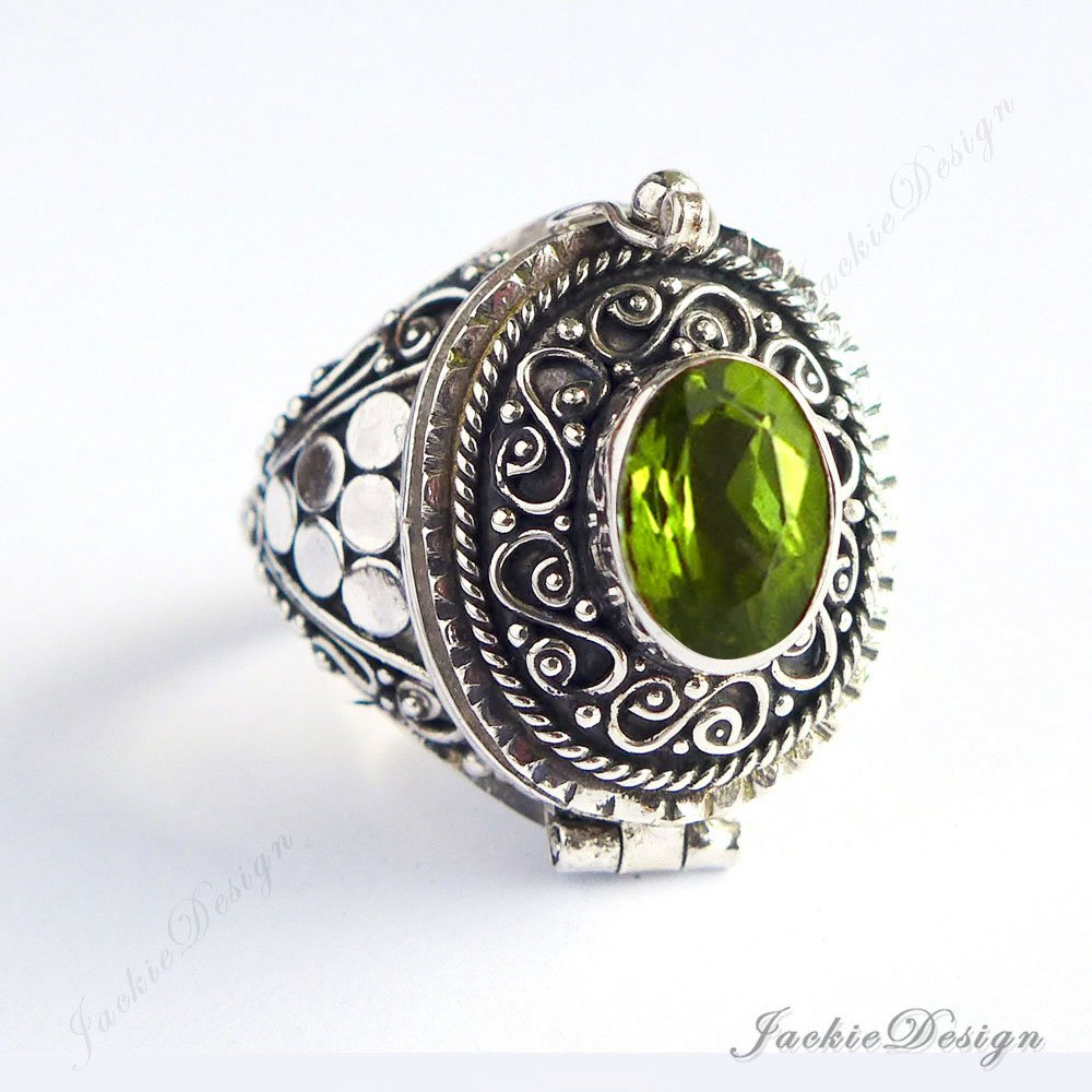 Green Peridot Size 7 8 9 Poison Ring Locket Bali Sterling Silver Secret Compartment Jewelry JD33
