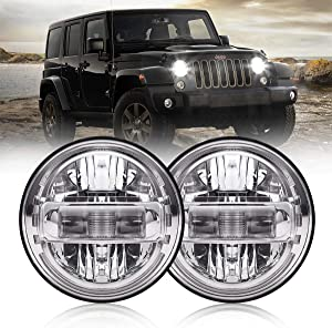 7 Inch Led Headlights DOT Approved Jeep Headlight with DRL Low Beam and High Beam for Jeep Wrangler JK LJ CJ TJ 1997-2018 Headlamps Hummer H1 H2-2020 Exclusive Patent (Chrome)