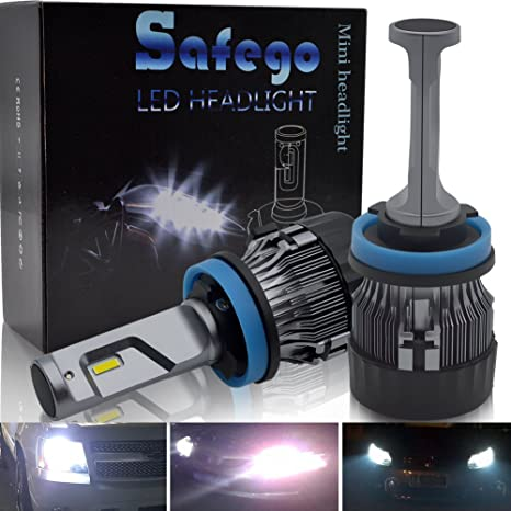 H11 LED Faro Bombillas Kit - Safego 60W LED LED Chips 10000LM LED Coche Kit de
