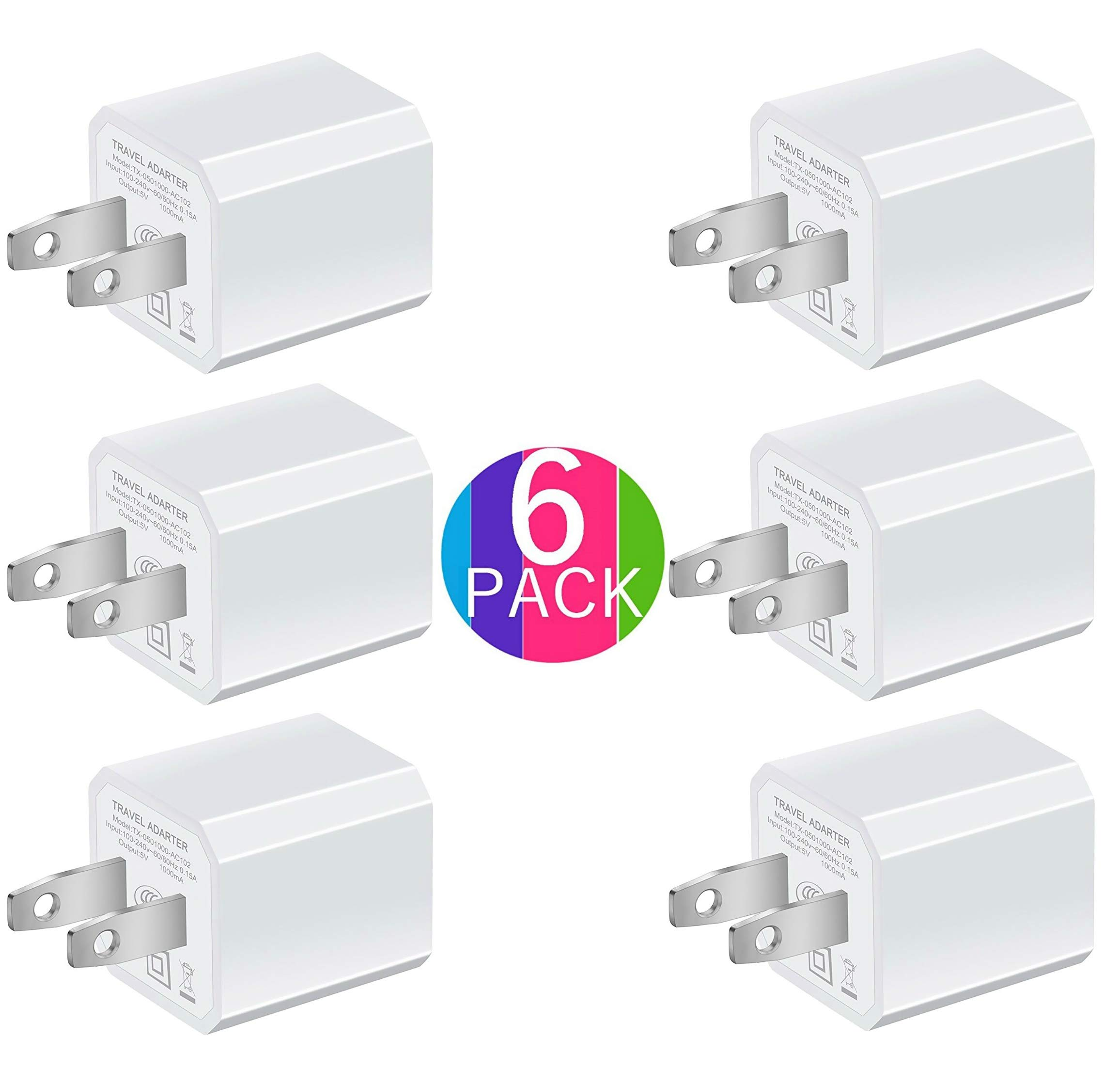 Boost Portable 5V USB Charger [6-Pack] USB Wall Charger for iPhone, Rapid 1.0A Output Compatible for iPhone iPad iPod Google Pixel Nexus HTC LG Nokia- White (Family Bundle)