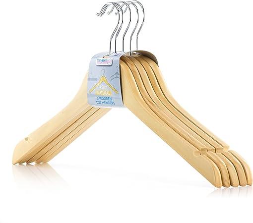 TODO HOGAR Percha Madera Pinzas Natural 6 UNDS Perchas 45cm con Pinzas de Metal para Pantalones y Muescas para Tirantes 6