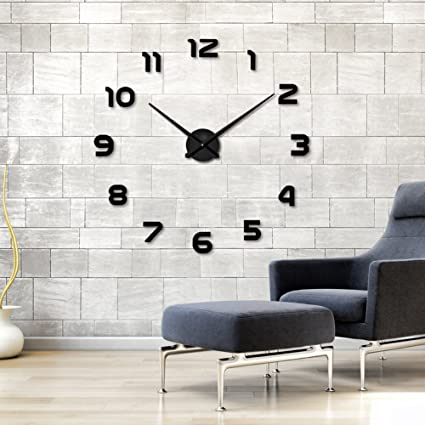 amazon com large diy wall clock modern mute 3d frameless mirror
