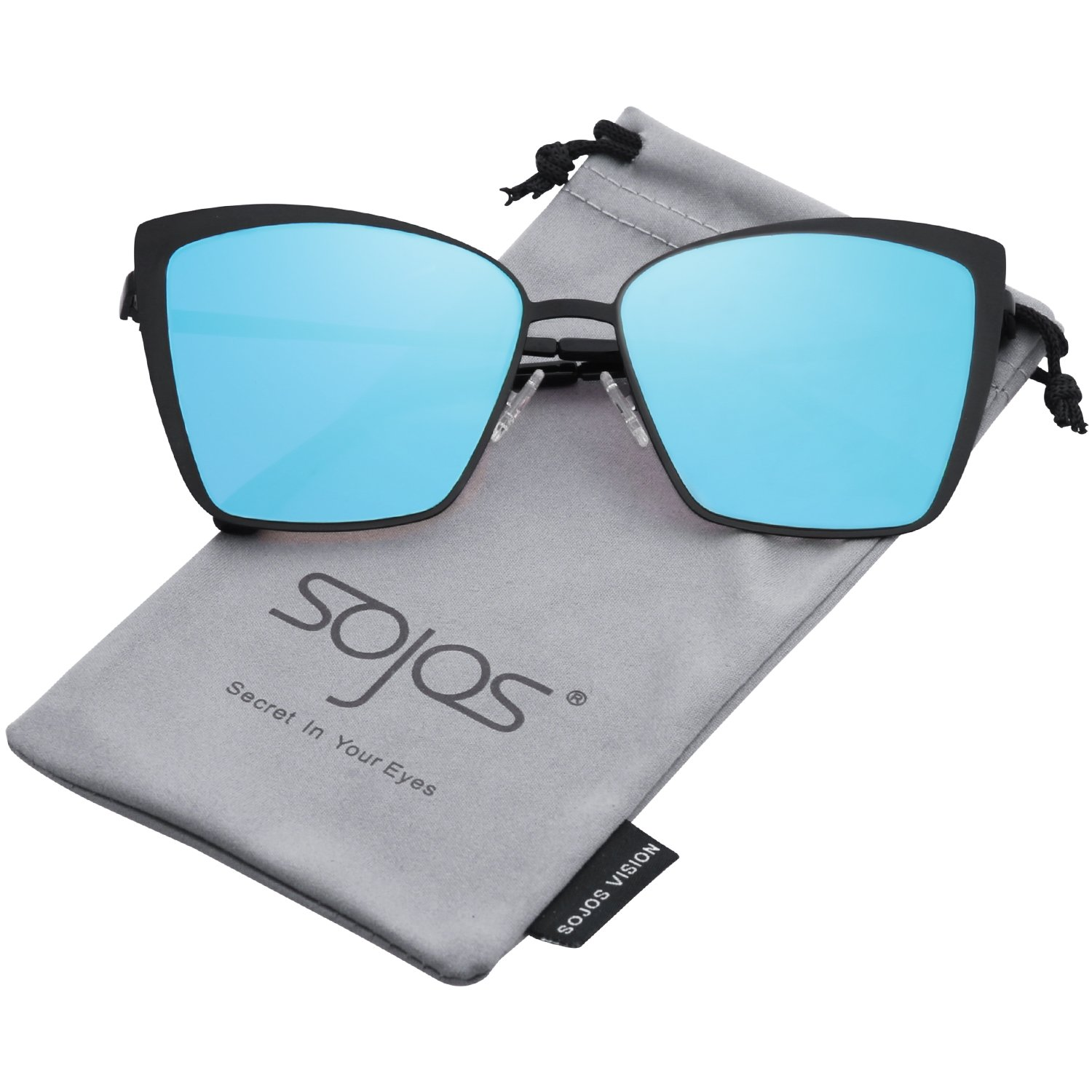 SOJOS Cateye Sunglasses for Women Fashion Mirrored Lens Metal Frame SJ1086 with Matte Black Frame/Blue Mirrored Lens