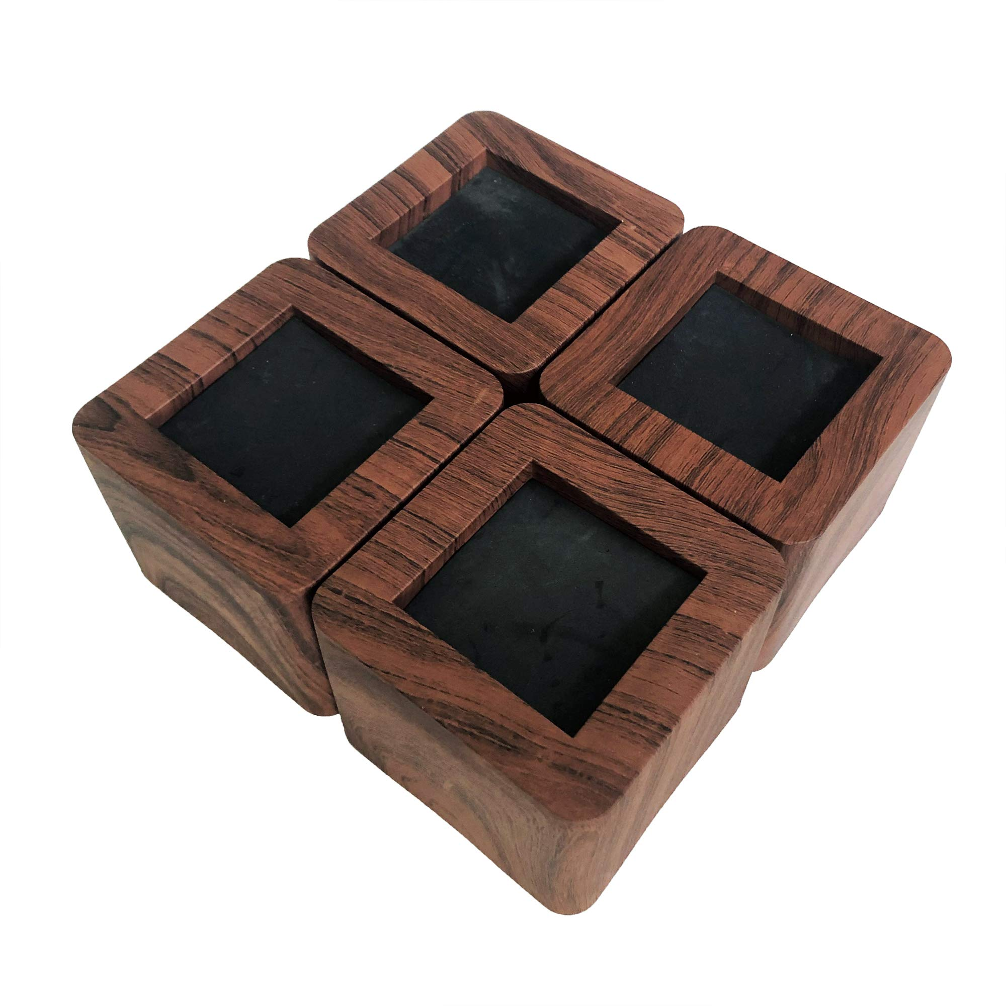 MIIX HOOM / Bed Risers 3 Inch | Heavy Duty Wooden Color Furniture Risers | 4PCS | Dark Brown Sofa Couch Risers or Table Risers (Dark Wood Color)