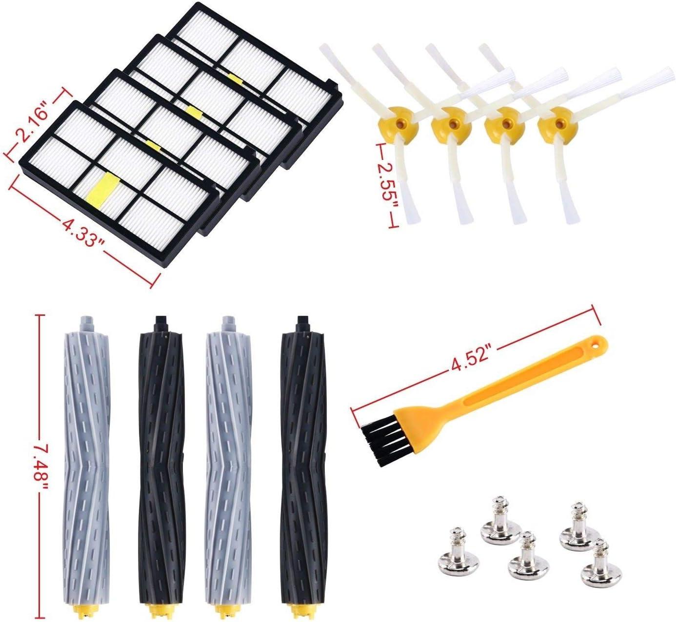 4Wild 14PCs Filters Brush Extractor Replenishment Kit for iRobot Roomba 800,880,900,980 Series,Vacuum Brush Replacement Part
