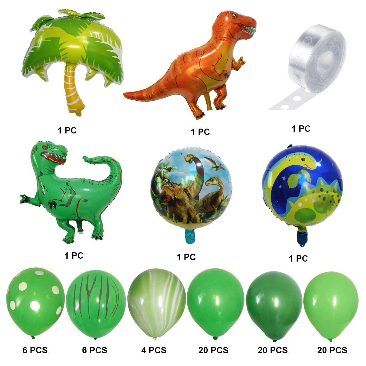 82 PCS Dino Themed Birthday Party Favors Decorations Set for Kids Boy Latex Green Balloons Set with T-Rex Balloons and 16 Feet Balloon Arch Garland Strip JAYKIDS Dinosaur Party Supplies