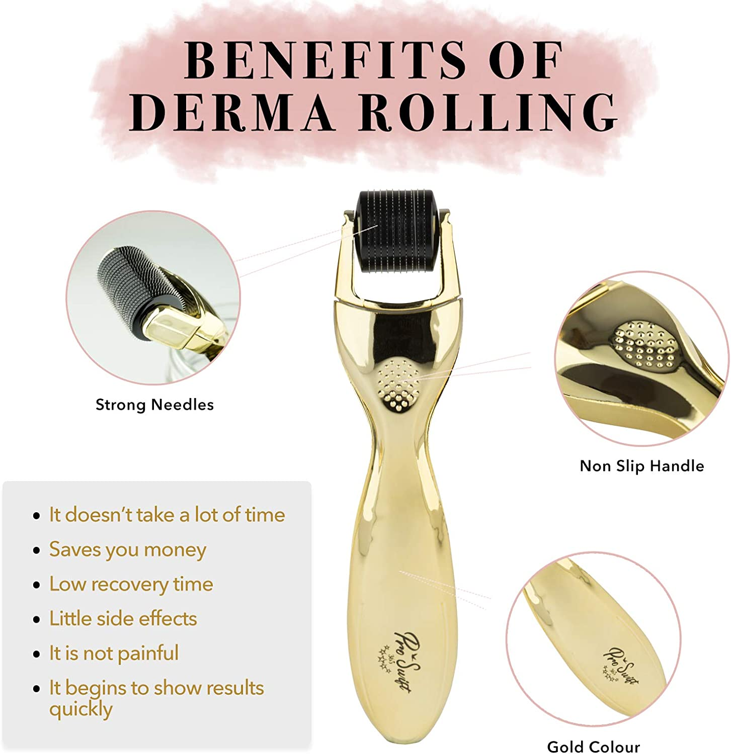 Proswift PREMIUM Derma Roller 3-in-1 Complete Kit, Inc Hydrating Vitamin C Serum, Crystal Collagen Eye Mask + Ebook. 3 Titanium Microneedle Rollers Activate Collagen, Removes Fine Lines & Wrinkles.: Amazon.es: Belleza