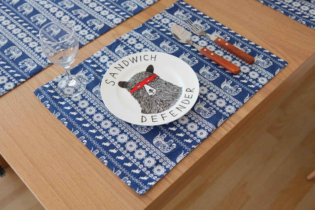 ChezMax Bohemian Style Mediterranean Cotton Linen Reversible Table Runner 4pcs Placemats Set Party Banquet Table Decoration Elephant Blue