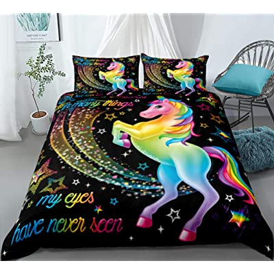 Merryword Rainbow Unicorn Duvet Cover Set Cartoon Unicorn Bedding Rainbow and Magical Unicorn Pattern Kids Boys Girls Bedding Sets Twin 1 Duvet Cover 1 Pillowcase (Twin, Unicorn 9): Home & Kitchen