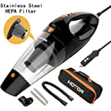 HOTOR Corded Car Vacuum, DC 12V Car Vacuum Cleaner for Quick Light Cleaning in the Car, not for Heavy Duty Cleaning – Black & Orange
