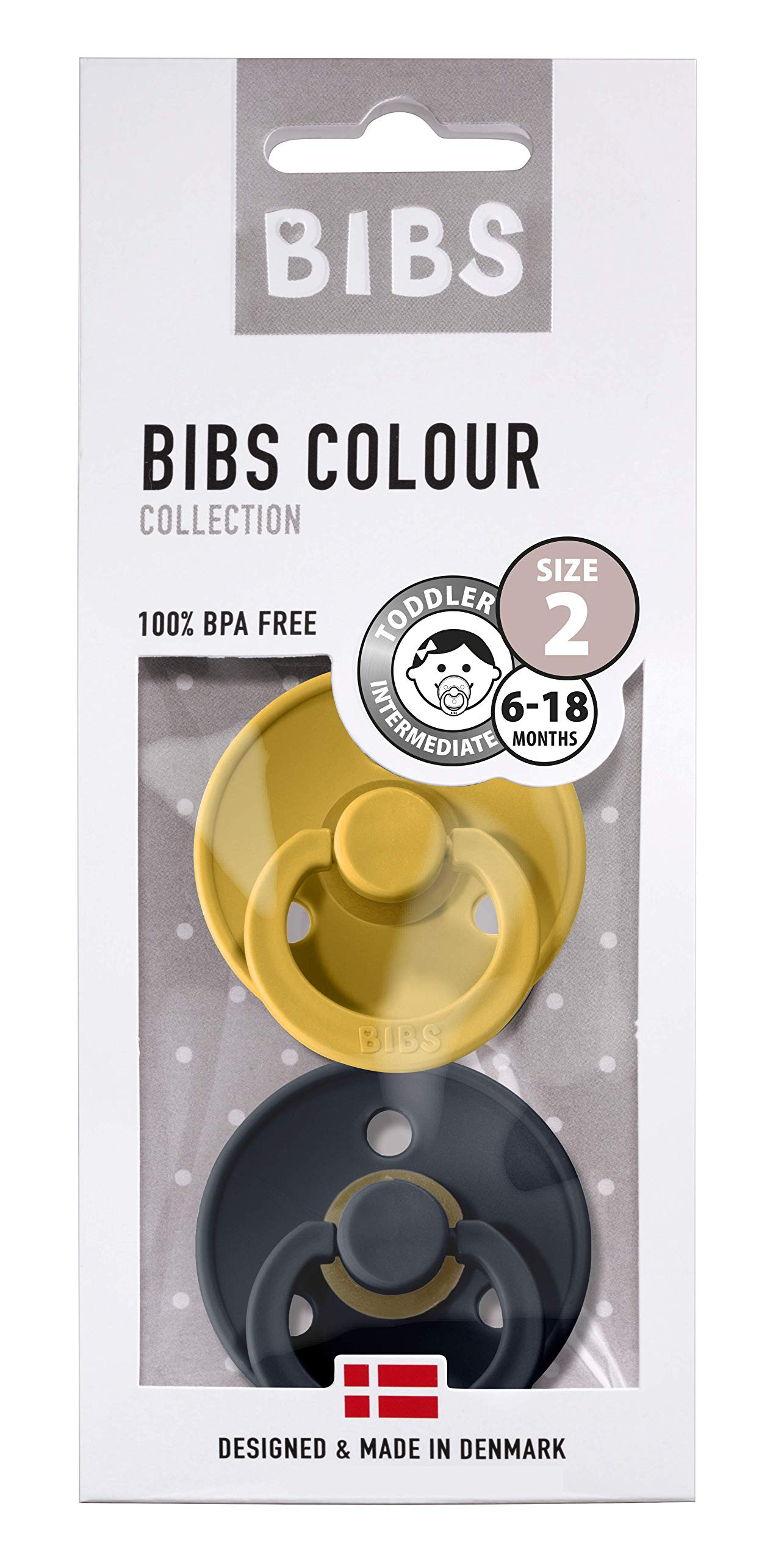 BIBS Soother Colour 2 Pack, BPA Free, Natural Rubber Dummy Pacifier, Size 2 (6-18 Month), Mustard/Smoke