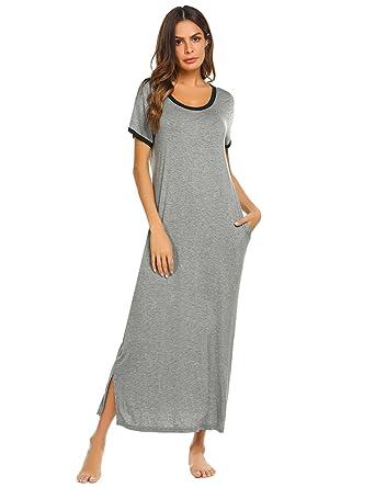 4c4a263f04407f Chigant Damen Lang Baumwolle Nachthemd Kurzarm Nachtwäsche Nachtshirt  Locker Nachtkleid Weich Schlafkleid Sleepwear mit Taschen Schwarz