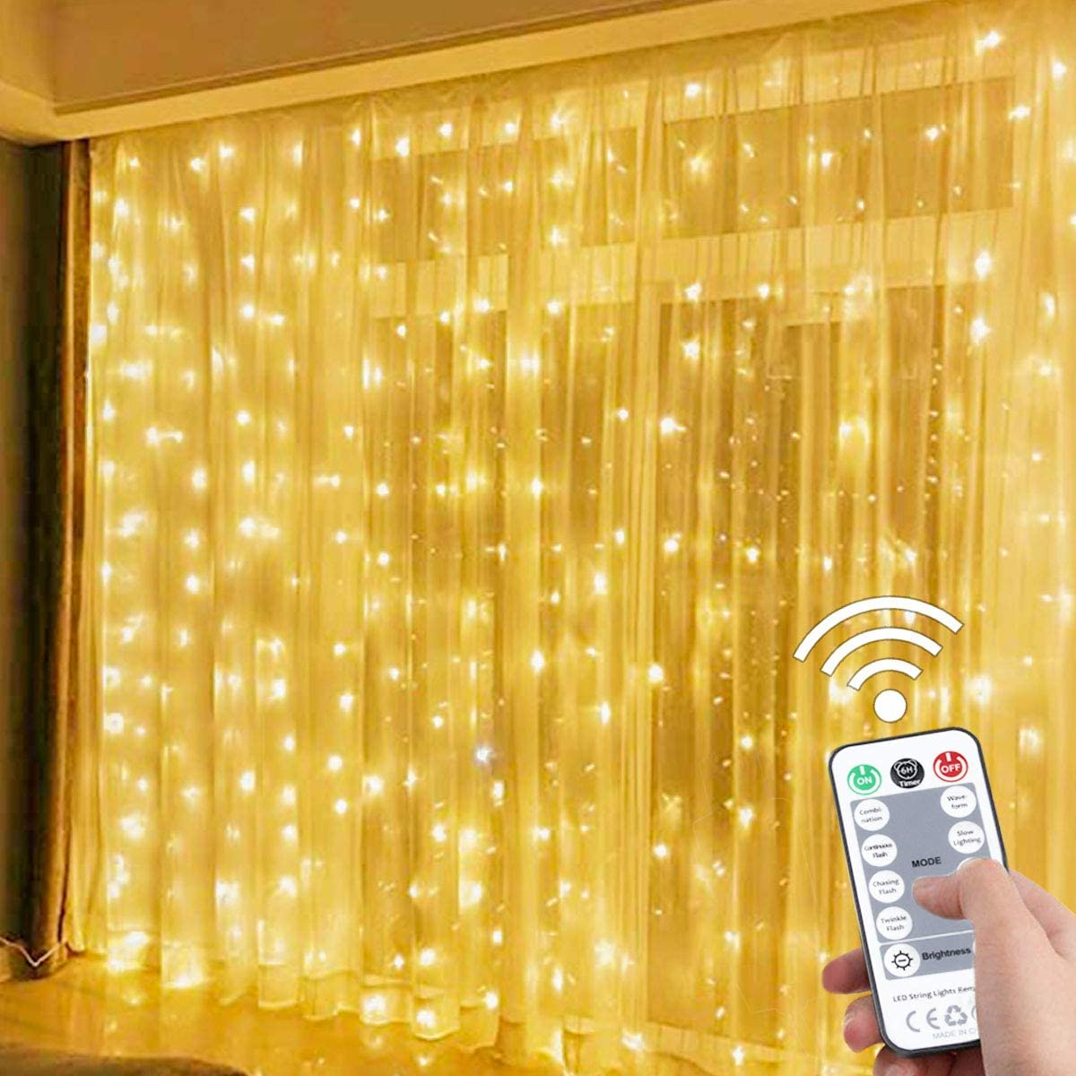 Suwitu Curtain String Lights, 300 LED Window Curtain Fairy Lights Copper Wire Twinkle String Light USB Remote Control 8 Modes Hanging Light for Bedroom Indoor Home Wedding Garden Party (Warm White)