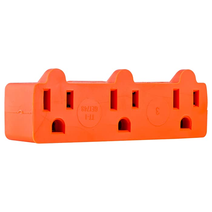 GE Heavy Duty 3 Outlet Adapter, Power Outlet Splitter, Grounded Wall Tap, UL Listed, Orange, 54541