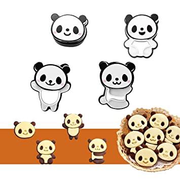 4 Pcs DIY Panda Food Deco Cutter And Stamp Kit Cookie Mold Amazonca Home Kitchen