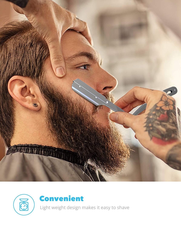 Equinox Professional Straight Edge Razor with 100 Single Edge Derby Blades - Close Shaving Men's Manual Shaver Safety